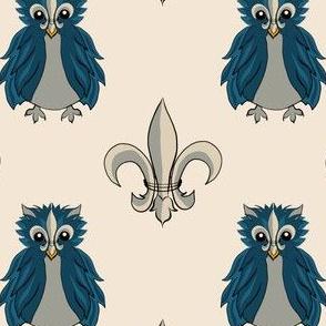 Fleur de lis Owl Blue