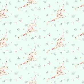 """2""""  Floral Dino / Roses / Minty Green"""