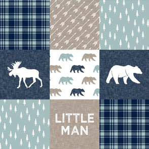 Happy Camper / Little Man - bear and moose - navy and dusty blue , beige  C19BS