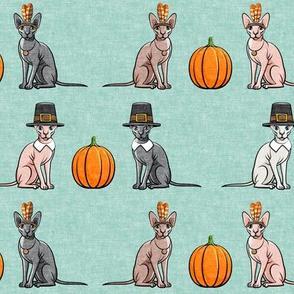 Thanksgiving  Sphynx Cat w/ pumpkin - Dark Mint- LAD19