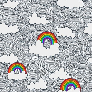 rainbows in the clouds - bright