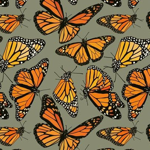 Monarchs on sage green 6""