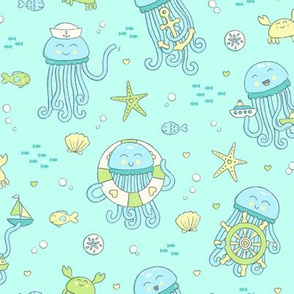 Adorable Seafaring Jellies in Soft Blue