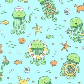 Adorable Seafaring Jellies in Green