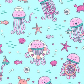 Adorable Seafaring Jellies in Pink
