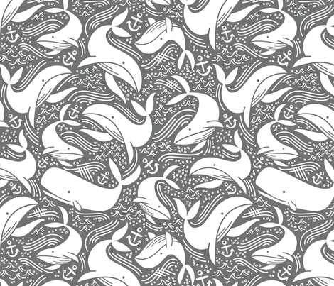 Whale No. 2 - Grey fabric by khubbs on Spoonflower - custom fabric