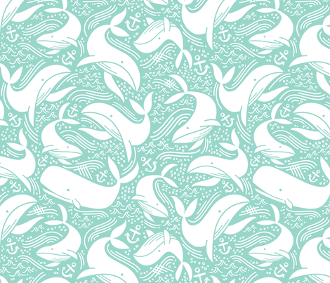 Whale No. 2 - Mint fabric by khubbs on Spoonflower - custom fabric