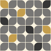 Mid Century Modern Graphic Leaves Gray and Gold