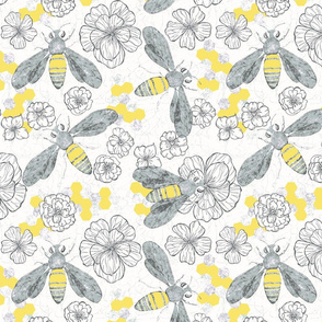 Honey Bees and Flowers, gray