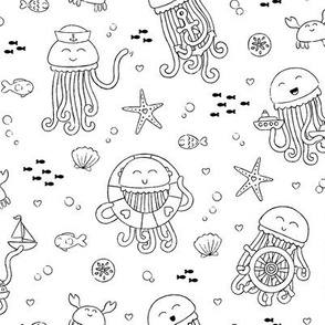Adorable Seafaring Jellies in Black & White