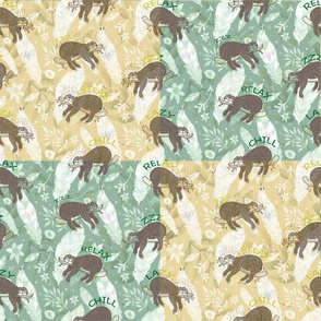 Mozaic Lazy Boho Sloth On Yellow and Green Background