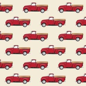 vintage red truck on dark cream C19BS