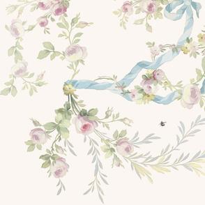 Rococo Roses vanilla border print