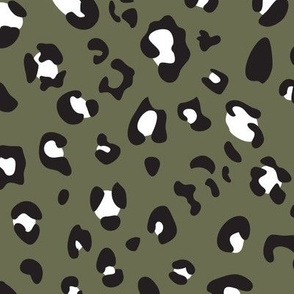 leopard print - army black white
