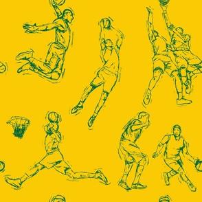 Basketball-Green on Gold