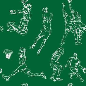 Basketball-White on Green
