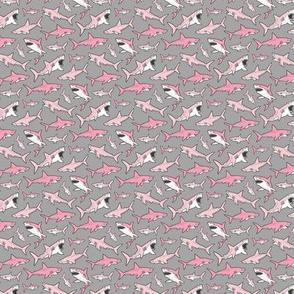 Sharks Shark Pink on Grey Tiny Small 1 inch