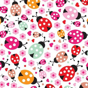 Colorful lady bugs illustration pattern for girls ROTATED