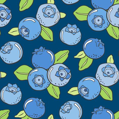 Blueberries Fruit on Dark Blue Navy fabric by caja_design on Spoonflower - custom fabric