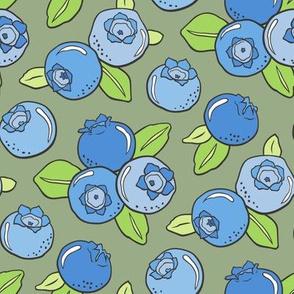 Blueberries Fruit on Olive Green