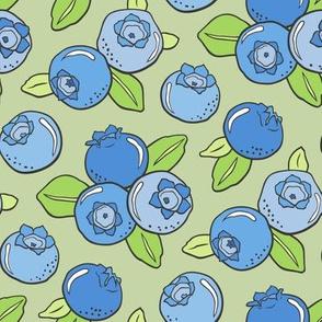 Blueberries Fruit on Light Olive Green