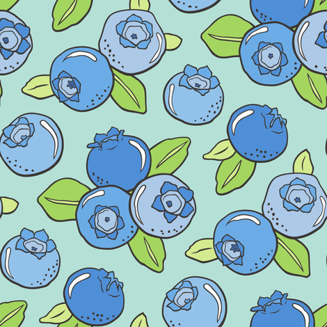 Blueberries Fruit on Mint Green fabric by caja_design on Spoonflower - custom fabric