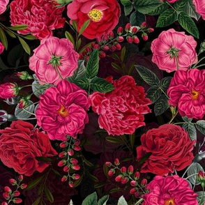 small - Moody Florals Rose Flowers on black by UtART - Mystic Night
