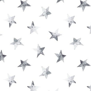 Silver watercolor stars for modern nursery