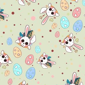 Creepy Cute Pastel Bunny Green