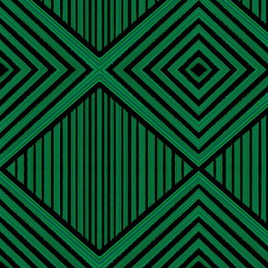Geometric Green Black Chevron