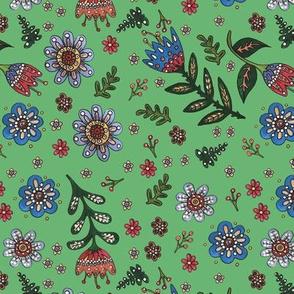 Folk Flowers on Green
