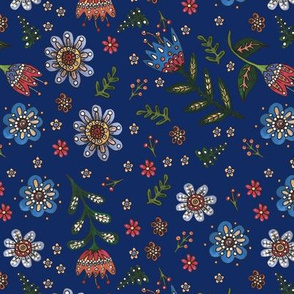 Folk Flowers on Blue