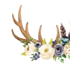 blush floral crown antler