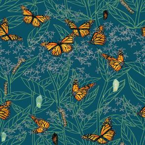 monarch + milkweed: teal