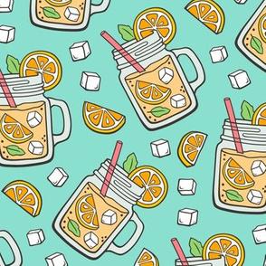 Oranges Lemonade on Mint Green