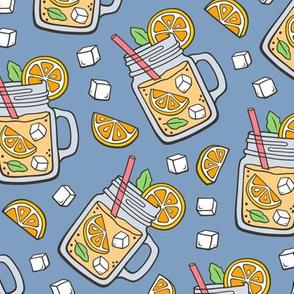 Oranges Lemonade on Dark Blue Navy