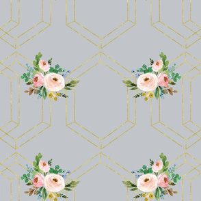gold triangle rose floral