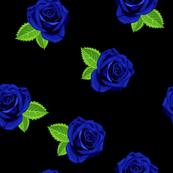 Jewel blue single rose on black