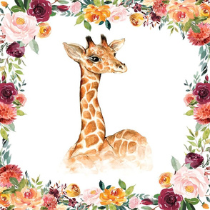 giraffe paprika floral 6 loveys  18x18 inches