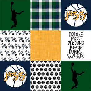 Basketball//Jazz - Wholecloth Cheater Quilt