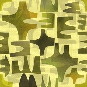 Mid Century Modern abstract  green gray yellow