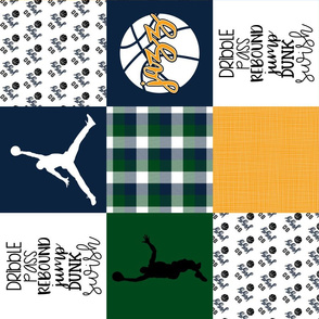 Basketball//Jazz - Wholecloth Cheater Quilt - Rotated