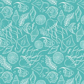 Sea Life - Aqua White Outline Small Scale