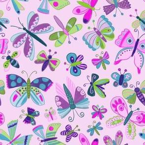 spring butterflies on pink