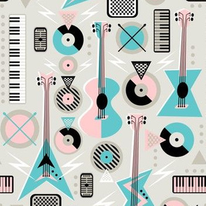Retro Musical Mayhem on  Pale Gray