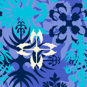 Hawaiian Abstract Quilt Floral - Perwinkle