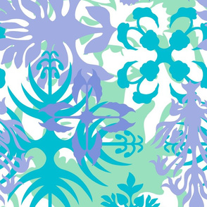 Hawaiian Abstract Quilt Floral - Mint and Peri