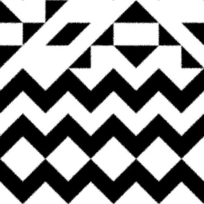 Geometric Tile - Jumbo Scale Chevron Peaks - Black and White