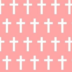 White Crosses on Light Pink