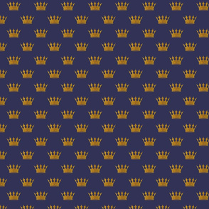 Mini Gold Crowns on Royal Blue